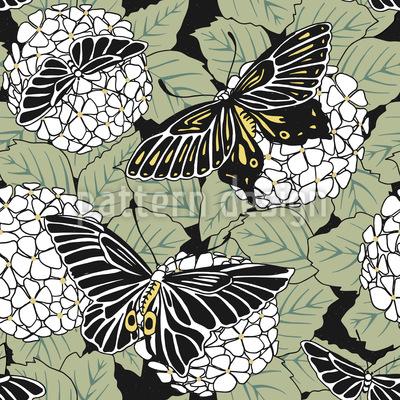 Schmetterlinge Und Hortensia Vektor Design