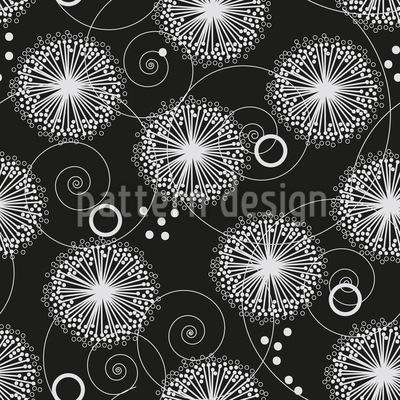 Curlicue Dandelion Flower Design Pattern
