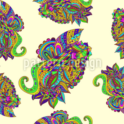 Zentangle Paisley Seamless Pattern