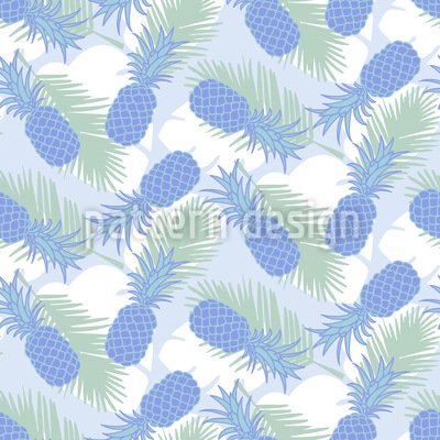 Pineapple And Palm Leaves Repeat Pattern