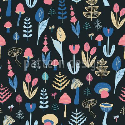 Nacht-Wald Flora Designmuster