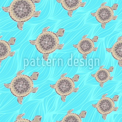 Decorative Turtle Seamless Vector Pattern