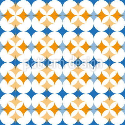 Floral Meeting Of Rhombuses Seamless Pattern