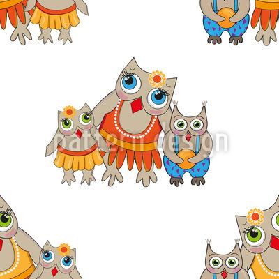 Family Owl Vector Pattern