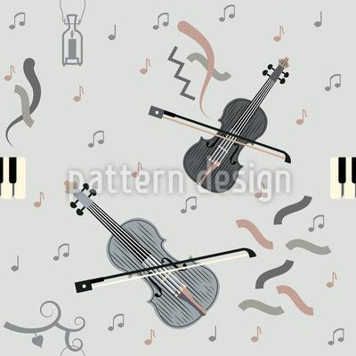 Geige spielen Nahtloses Vektor Muster