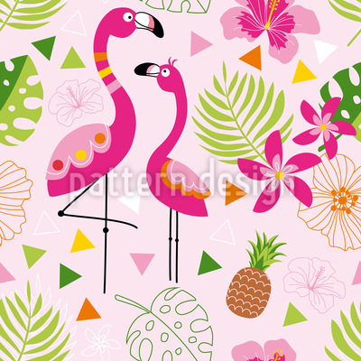 Tropical Flamingo Paradise Repeating Pattern