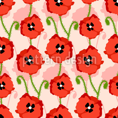 Red Poppies Repeat Pattern