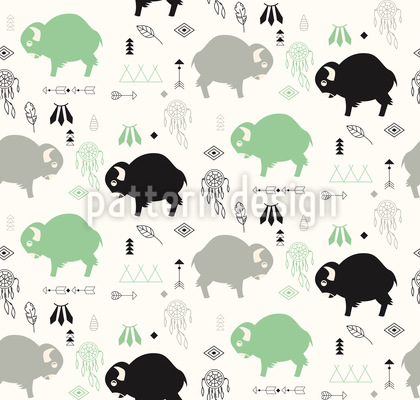 Oh You Little Buffalo Seamless Vector Pattern