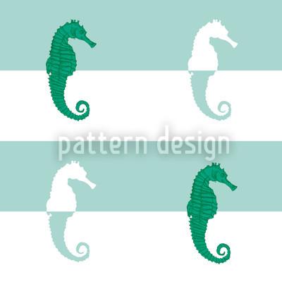 Seepferdchen Auf Streifen Musterdesign