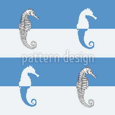 Seepferdchen Auf Blaustreif Designmuster