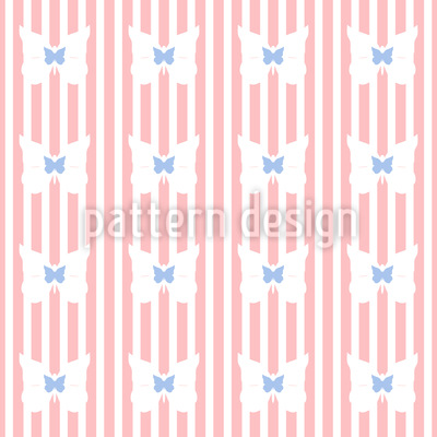 Butterflies On Stripes Design Pattern