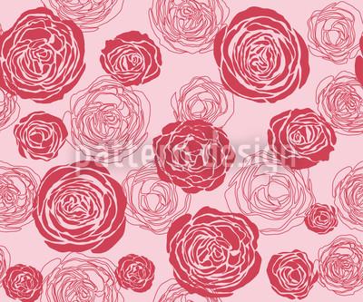 Rosenblüten Rot-Rosa Nahtloses Muster