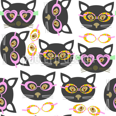 Hipster Cats Seamless Vector Pattern