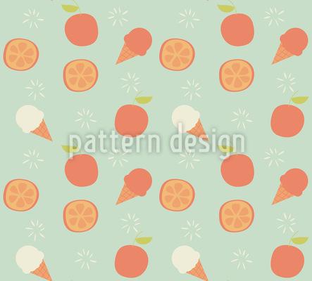 Eiscreme und Orangen Rapportmuster