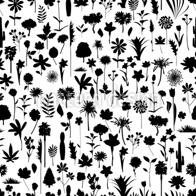 Many Flower Silhouettes Vector Pattern