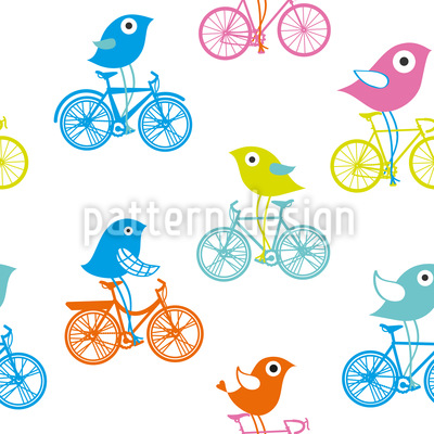 Biking Birds Seamless Pattern
