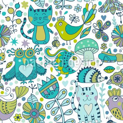 Doodle Tiere Nahtloses Vektor Muster