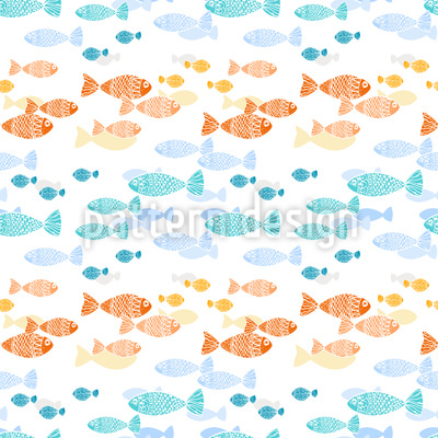 Kreuzende Fischschwärme Nahtloses Vektor Muster