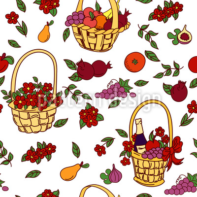 Summer Baskets Vector Ornament