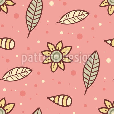 Summer Night Flowers And Leaves Seamless Vector Pattern