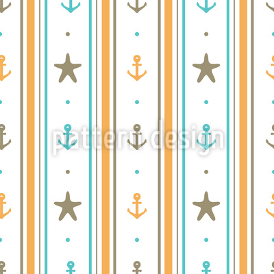 Sea Anchors and Starfishes Pattern Design