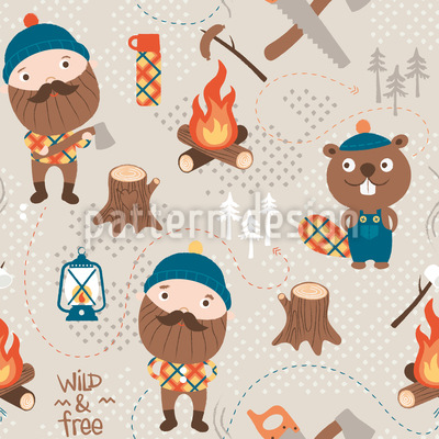 Lumberjack And Forest Friends Vector Ornament