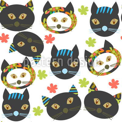 Cats In The Garden Vector Ornament