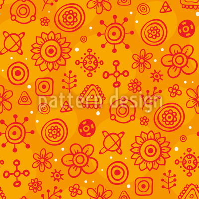 Flower Constellations Seamless Pattern
