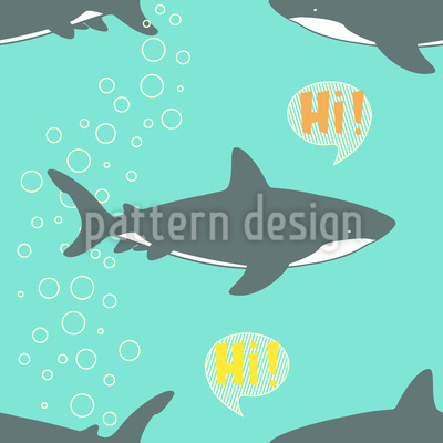 Hello Shark Vector Pattern