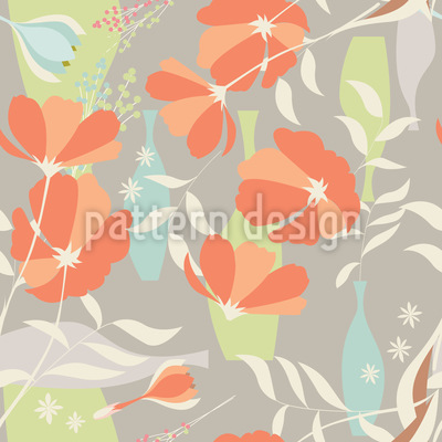 Vases And Flower Branches Seamless Pattern