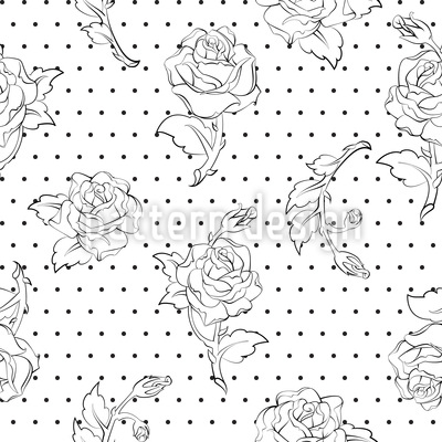 Roses on Dots Vector Design