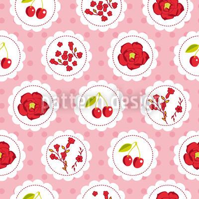 Grannys Cherry Garden Pink Seamless Pattern