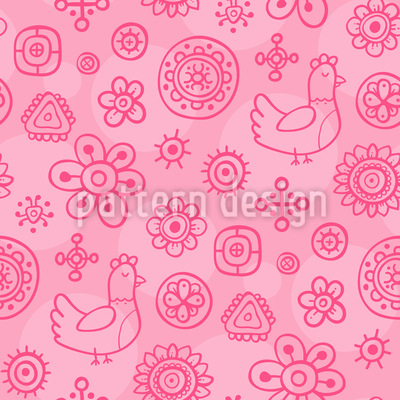 Dreaming Chicken Repeating Pattern