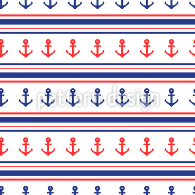 Anchors And Stripes Design Pattern