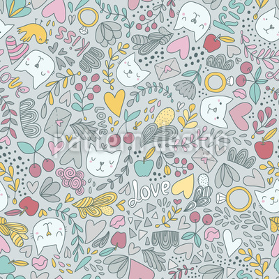 Valentines Cats Seamless Pattern