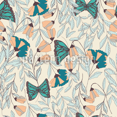 Monarch Spring Garden Pattern Design