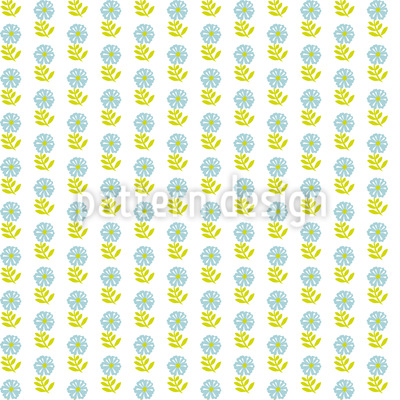 Block Print Flowers Vector Pattern