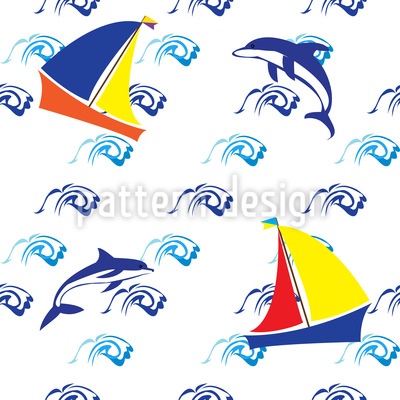 Jumping Dolphins Pattern Design