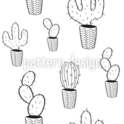 Potted Cactus Pattern Design