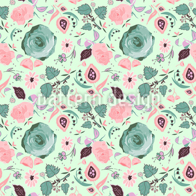 Romantic Flowers Seamless Vector Pattern