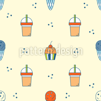 Ice Cream And Drink Pattern Design