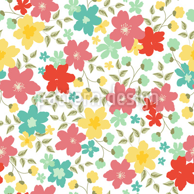 Sommer Flora Nahtloses Vektor Muster