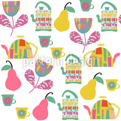 Tea With Pears Repeating Pattern
