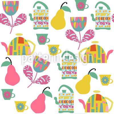 Tee mit Birnen Rapportiertes Design