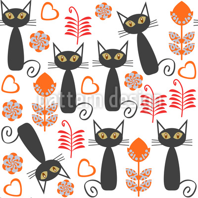 Cats In The Meadow Repeating Pattern