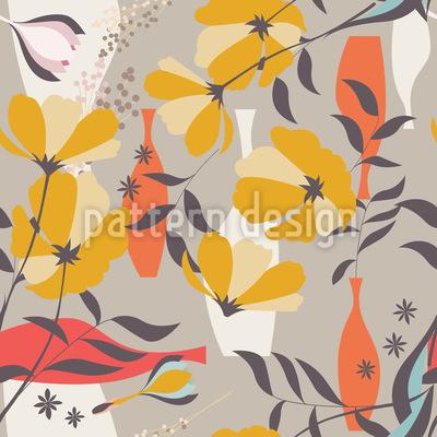 Mohnblumen und Zweige Rapportiertes Design