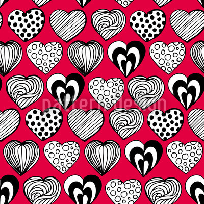 Funny Hearts Seamless Vector Pattern