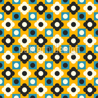 Retro Flower Tiles Pattern Design