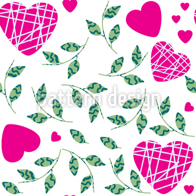 Hearts And Leaves Vector Ornament