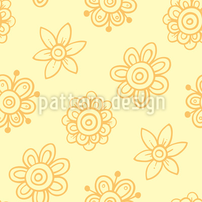 Sonnige abstrakte Blüten Nahtloses Muster